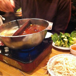 Red hot pot and pink cold glass