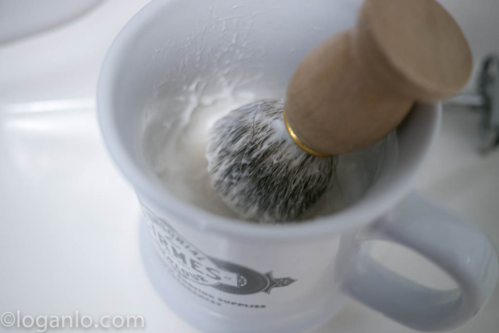 Shaving Mug and Brush with whipped foam