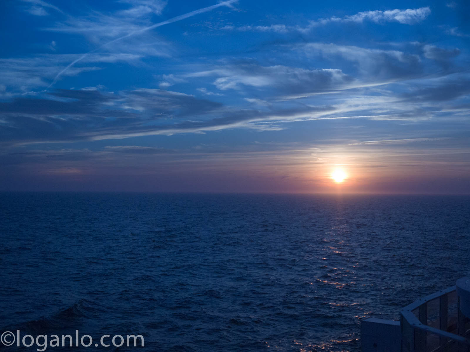 Sun setting over Atlantic Ocean