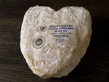English: French Neufchâtel is a cheese labelle...