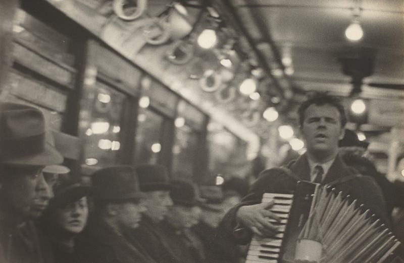 Walker Evans - Man with accordion in Subway