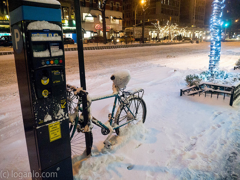 Bicycle in Upper West Side Snowstorm, Feb 26 2015 Night