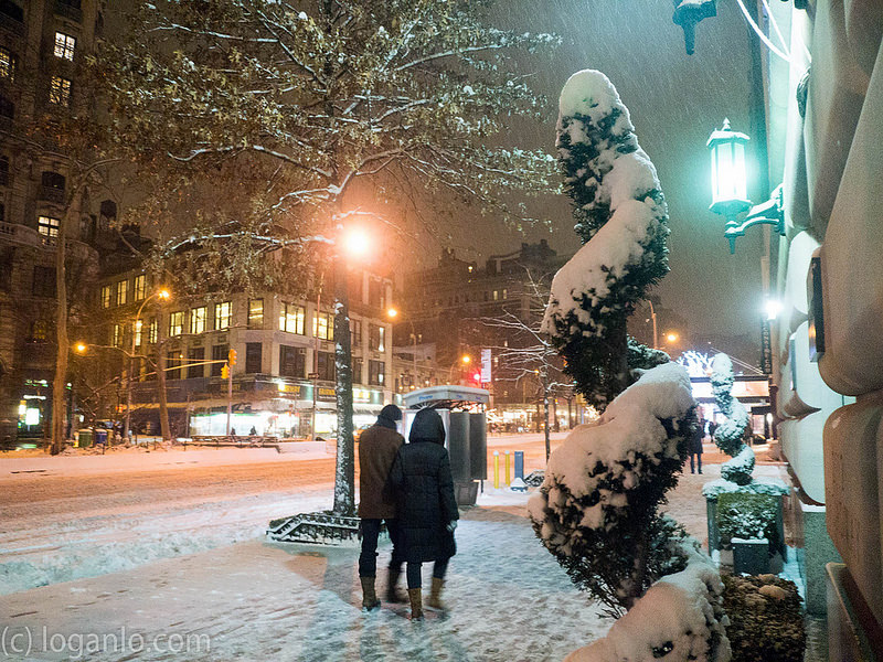 Couple Walking  Upper West Side Snowstorm, Feb 26 2015 Night