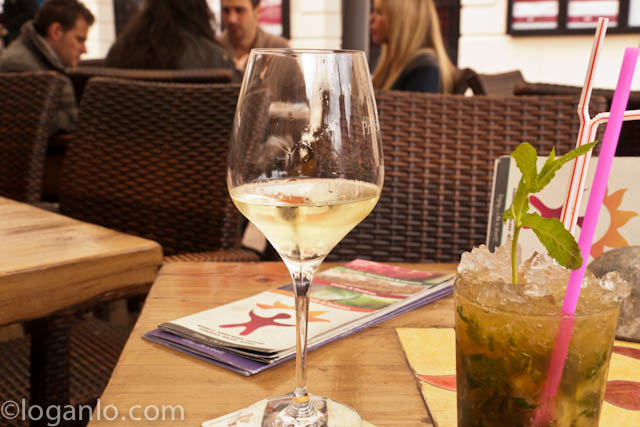 Wine and a mojito in Malaga, Spain