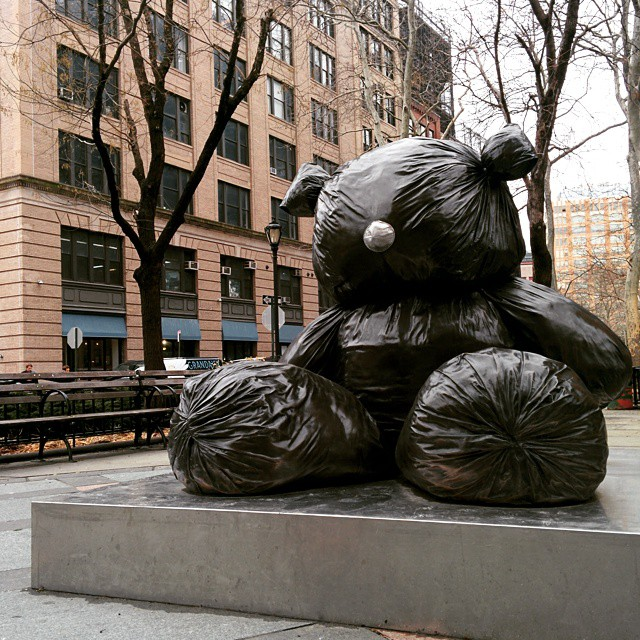#Cloudy day in #NYC and autumn leaf bag bear downtown is unhappy.