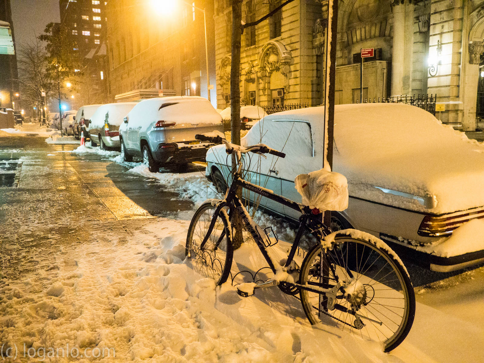 Snow covered bicycle in NYC
