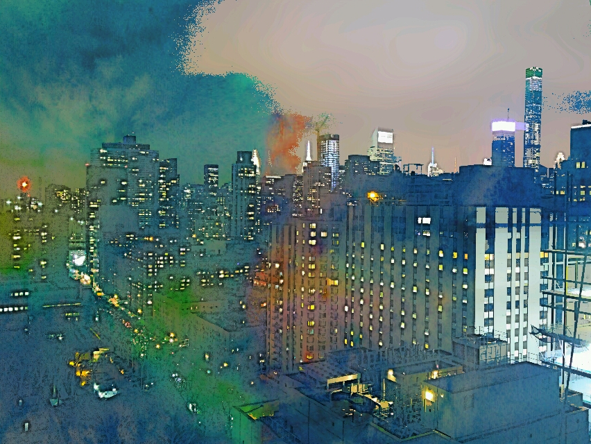 Watercolor view of the UES, NY,