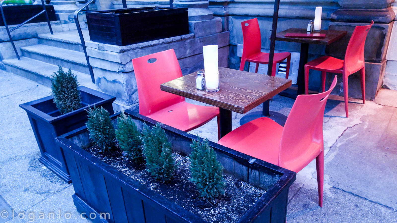 Two empty chairs outside NYC restaurant