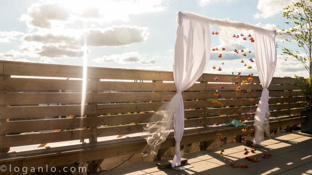 Wedding arch in daytime in Brooklyn