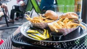 Burgers and Fries at Pier I in NYC